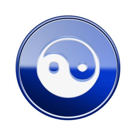 budda: yin yang symbol icon glossy blue, isolated on white background.