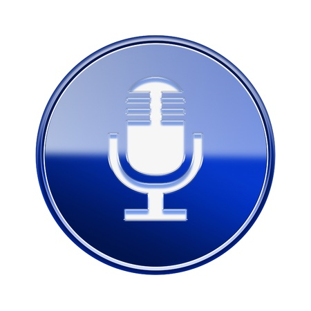 decibels: Microphone icon glossy blue, isolated on white background