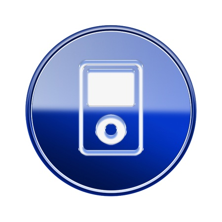 hf: mp3 player icon glossy blue, isolated on white background Stock Photo