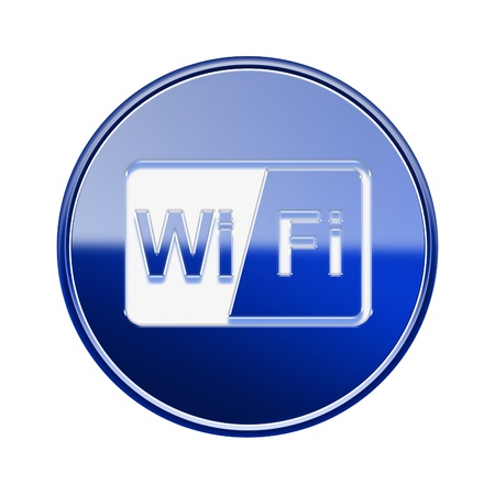 wep: WIFI icon glossy blue, isolated on white background Stock Photo