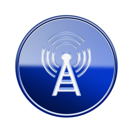 wep: WIFI tower icon glossy blue, isolated on white background Stock Photo