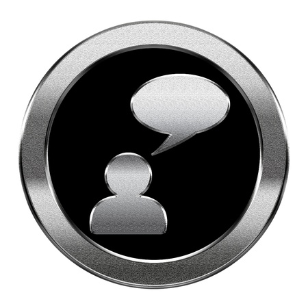 Chat icon silver, isolated on white background. photo