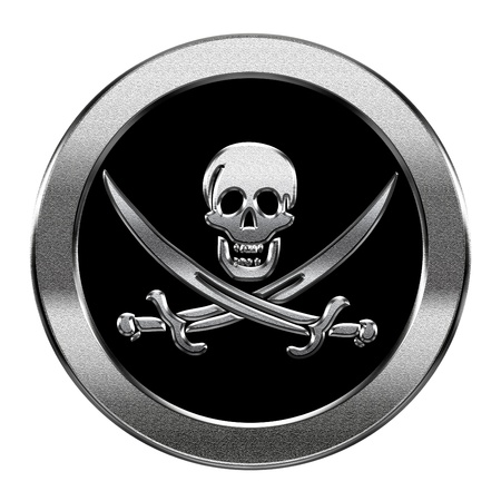 mercenary: Pirate icon silver, isolated on white background.