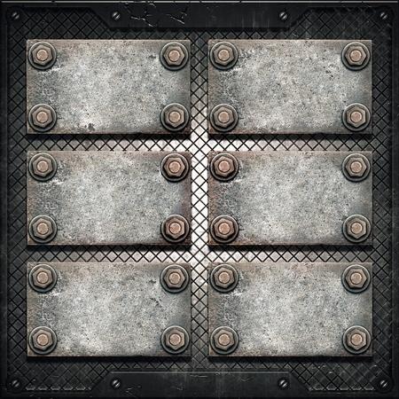 metal plaque: Old metal plate on metallic wall Stock Photo