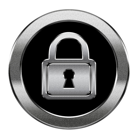 Lock icon silver, isolated on white background  photo
