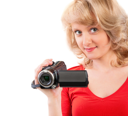 hdtv: Close-up of a woman holding a home video camera