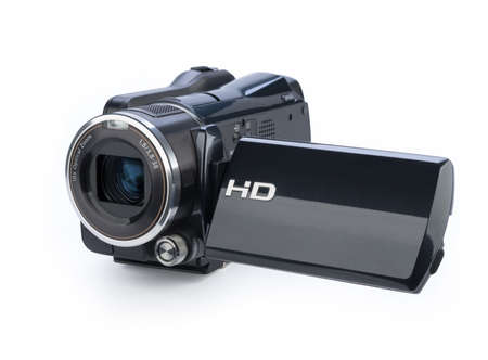 home video camera: Digital video camera isolated on white background Stock Photo