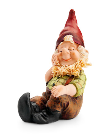 dwarfs: Sitting Gnome isolated with clipping path  Stock Photo