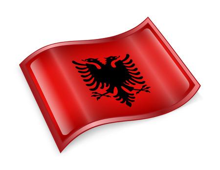 red flag up: Albania Flag Icon, isolated on white background  Stock Photo