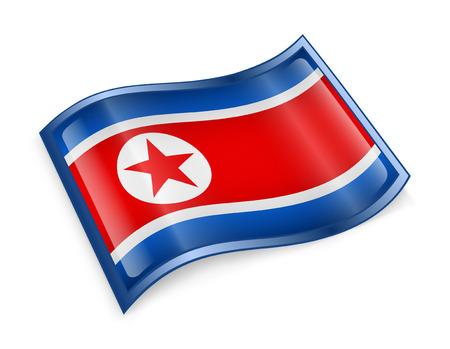 pyongyang: Northern Korea Flag Icon, isolated on white background  Stock Photo