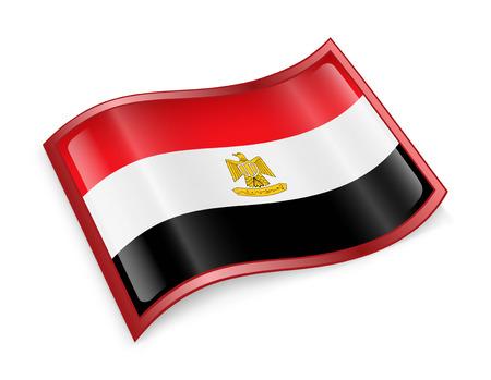 bandera de egipto: Icono de la bandera de Egipto, aislado sobre fondo blanco. Foto de archivo