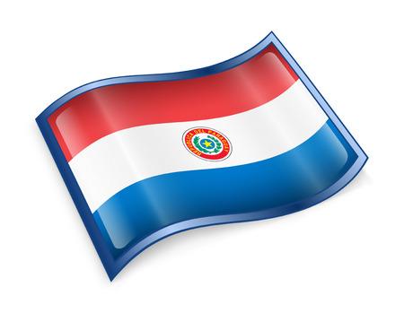 bandera de paraguay: Icono de bandera de Paraguay, aislado en fondo blanco. Foto de archivo