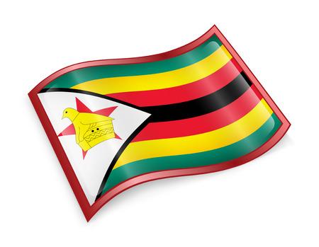 zimbabwe: Icono de la bandera de Zimbabwe, aislado en fondo blanco.