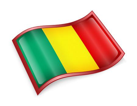 mali: Mali Flag icon, isolated on white background.