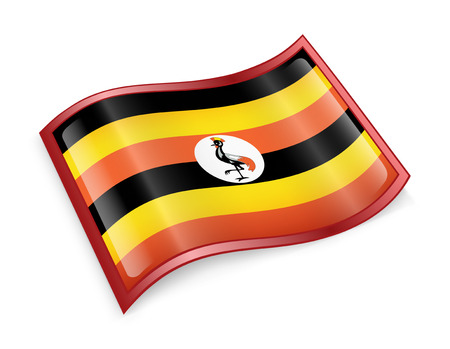 ugandan: Uganda Flag icon, isolated on white background.