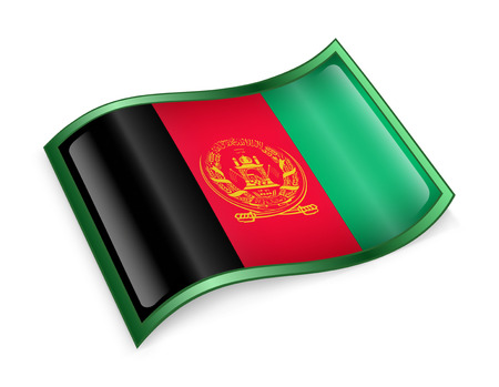 afghanistan: Afghanistan Flag icon, isolated on white background.