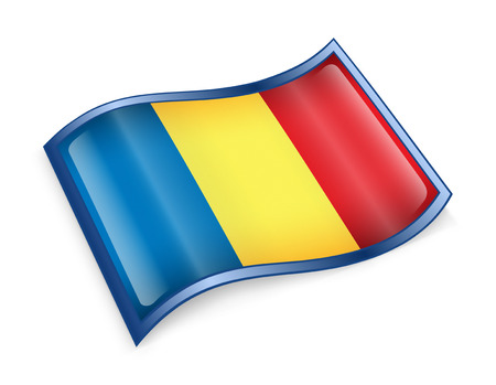 Romania Flag icon, isolated on white background. photo