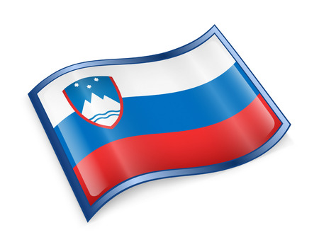 Slovenia Flag icon, isolated on white background. photo