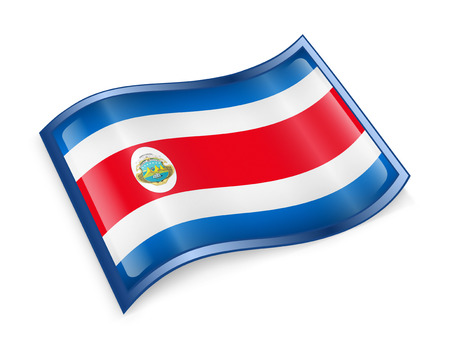 rica: Costa Rica flag icon, isolated on white background.
