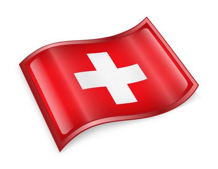 Switzerland Flag icon, isolated on white background. photo