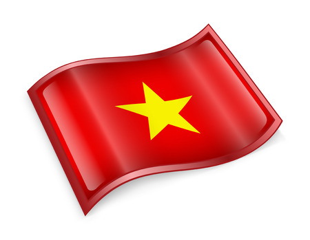 Vietnam Flag icon, isolated on white background. photo