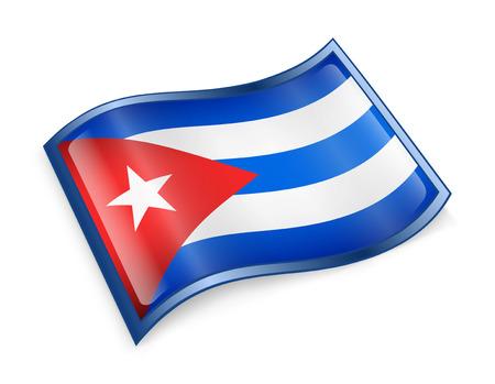 bandera cuba: Cuba Flag Icon, aislados en fondo blanco.