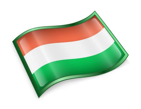 europa: Hungary Flag Icon, isolated on white background Stock Photo