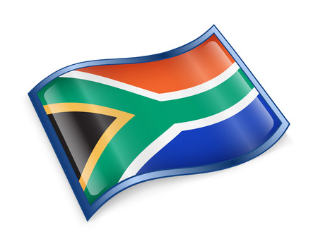 southern africa: South Africa Flag icon, isolated on white background