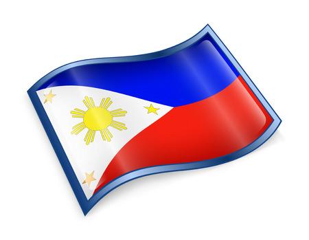 manila: Philippines Flag Icon, isolated on white background. Stock Photo