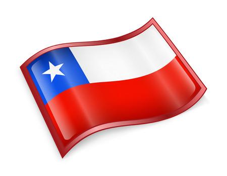 bandera chile: Chile Flag Icon, aislados en fondo blanco. Foto de archivo