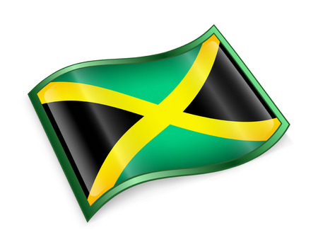 kingston: Jamaica Flag Icon, isolated on white background. Stock Photo