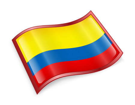 colombia flag: Colombia Flag Icon, isolated on white background.