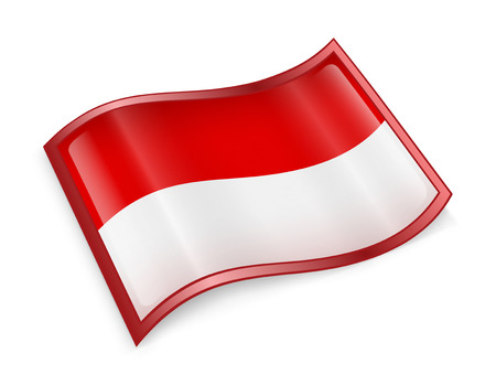 asean: Indonesia Flag Icon, isolated on white background. Stock Photo