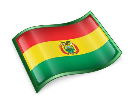 bandera de bolivia: Icono de bandera de Bolivia, aislado en fondo blanco. Foto de archivo