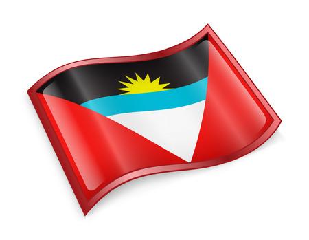 antigua flag: Antigua and Barbuda Flag icon, isolated on white background.