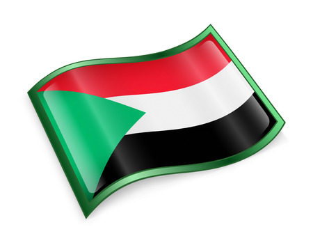 aqua icon: Sudan Flag Icon, isolated on white background.