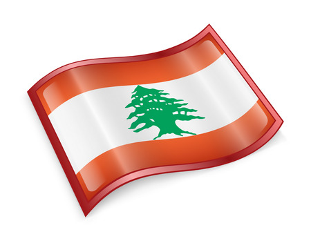 Lebanese Flag icon, isolated on white background. photo