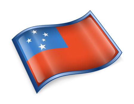 samoa: Samoa Flag icon, isolated on white background.