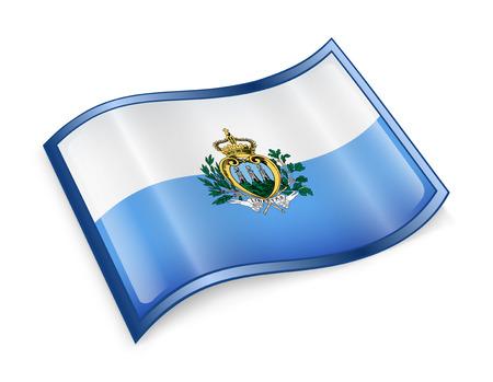 san marino: San Marino Flag icon, isolated on white background. Stock Photo