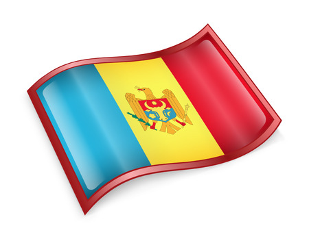 Moldova Flag icon, isolated on white background. photo
