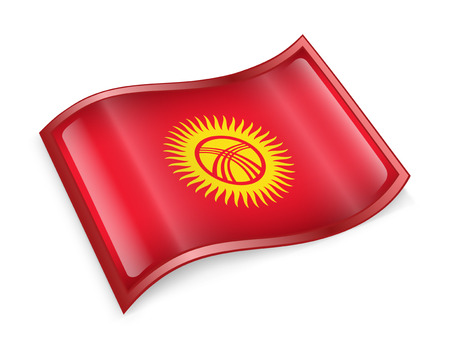kirgizia: Kyrgyzstan Flag icon, isolated on white background. Stock Photo