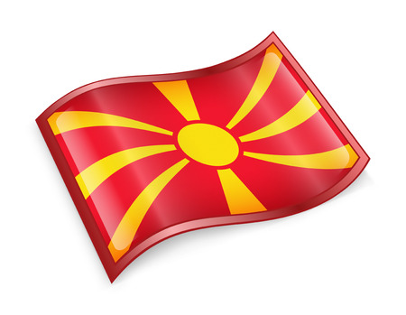 macedonia: Macedonia Flag icon, isolated on white background.