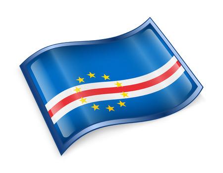 cape verde flag: Cape Verde Flag icon, isolated on white background Stock Photo