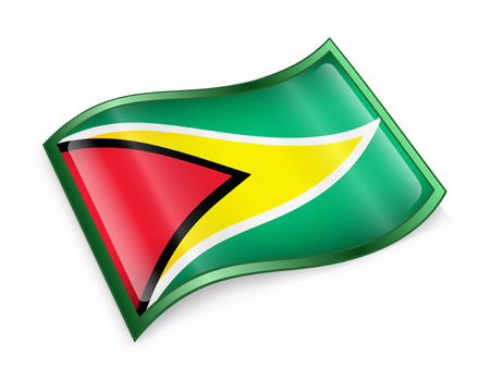 guyanese: Guyana Flag icon, isolated on white background.