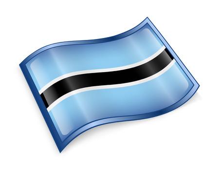 botswana: Botswana Flag icon, isolated on white background. Stock Photo