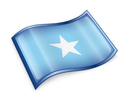 somali: Somali flag icon, isolated on white background