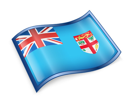 fiji: Fiji flag icon, isolated on white background