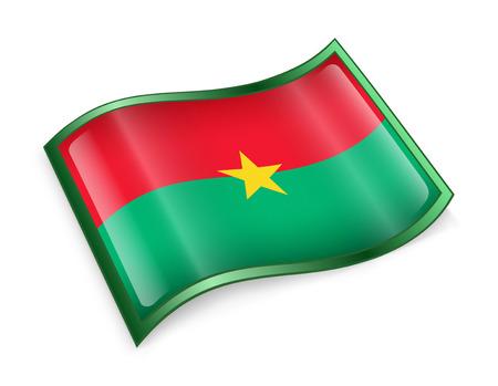 burkina faso: Burkina Faso flag icon, isolated on white background