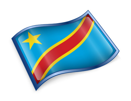 dr: DR Congo Flag icon, isolated on white background.