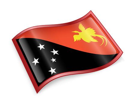 papua: Papua New Guinea flag icon, isolated on white background Stock Photo